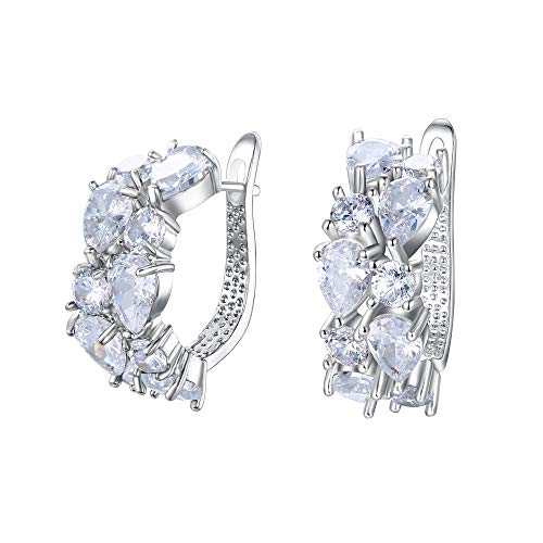 EVER FAITH Women's Prong Cubic Zirconia Party Elegant Teardrop Huggie Hoop Stud Earrings Clear Silver-Tone