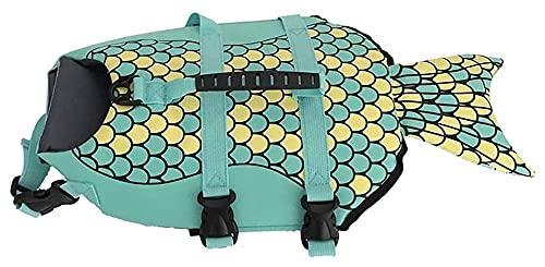 M3 Decorium Chaleco de Vida para Perros natación asistencias Segura Mascota Ajustable Correa con Mango de Rescate patrón de Sirena natación Adecuada Junto al mar (Size : L)