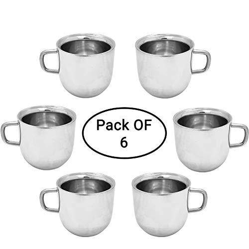 ASP Online Traders Set van 6 RVS Beker Dubbele muur Espresso Bekers Voor Thee Koffie Mok Herbruikbaar & Vaatwasser Veilig (100 ML)