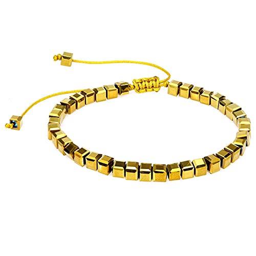 1 pieza Braclet oro tejido a mano cuadrado Crystal BeadsColor Cuentas de cristal cuadradas tejidas a mano