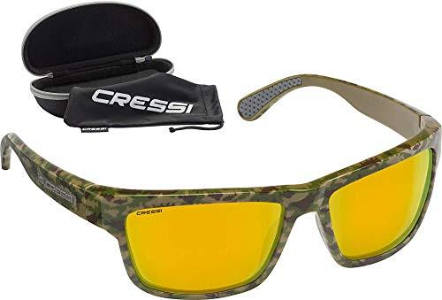 Cressi Ipanema Sunglasses Gafas de Sol Deportivo, Adultos Unisex, Verde Camuflaje/Lentes Naranja Espejo, Talla única