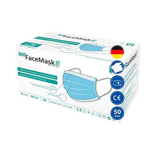 Voit Medizinische Gesichtsmaske Typ IIR EN 14683, 50 Stück, 4-lagig, Atemschutzmaske, Mundschutzmaske mit Ohrenschlaufen, Made in Germany
