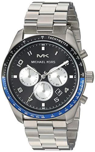 Michael Kors Men's Keaton Quartz Watch with Stainless-Steel Strap, Silver, 22 (Model: MK8682)