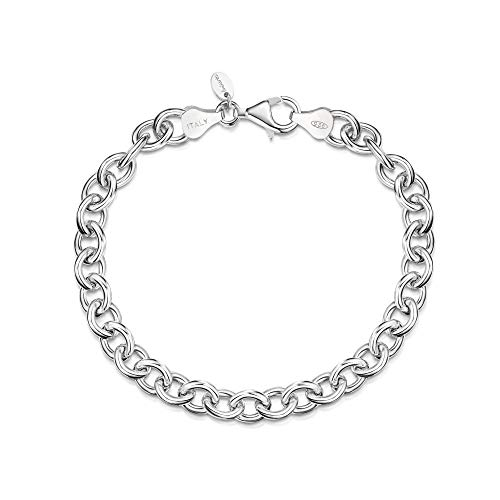 Amberta 925 Sterling Silver - 6.7 mm Bracelet for Women - Rolo Belcher Cable Chain - Smooth Links - Length 7.5 Inch