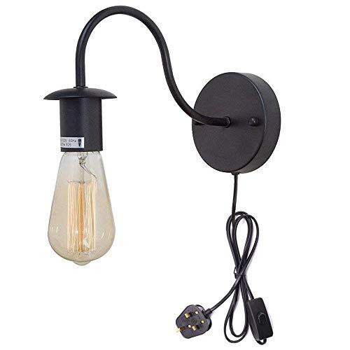 Gymqian Minimalista Solo Zócalo de la Vendimia Loft Industrial Estilo 1-Luz Lámpara de Pared Ce Certificación Plug-In Botón de Interruptor de Cable de Iluminación de Bombilla Negro