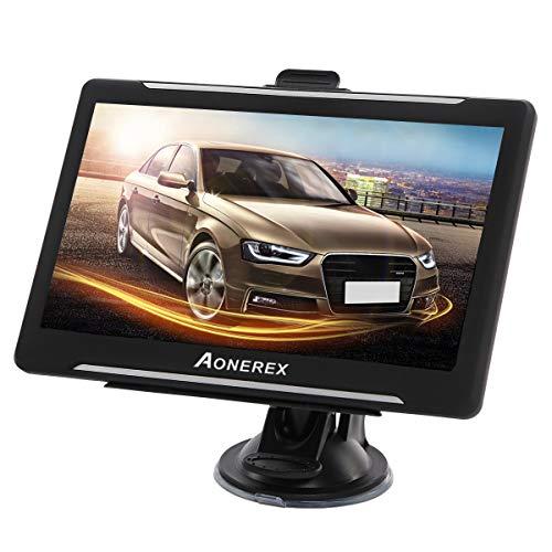 Aonerex Navi für Auto LKW 7 Zoll 8GB 256MB GPS Navigationssystem Vorinstalliert 2020 UK und EU Karten mit lebenslangen kostenlosen Updates