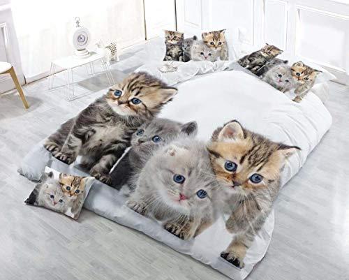 NICE Home King Size 2018 Neuf 3D Leopard Cat Parure de lit 4 pièces Housse de Couette avec Drap de lit Taie d'oreiller