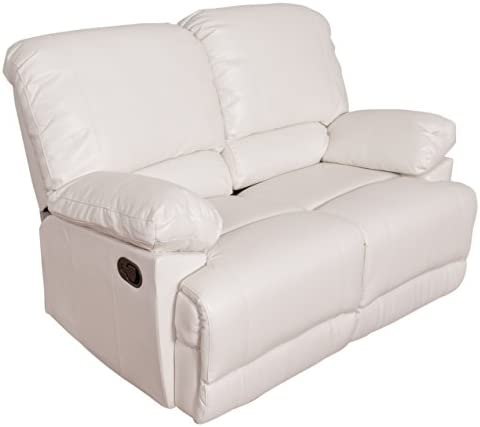 Best CorLiving Lea Leather Reclining Loveseat White