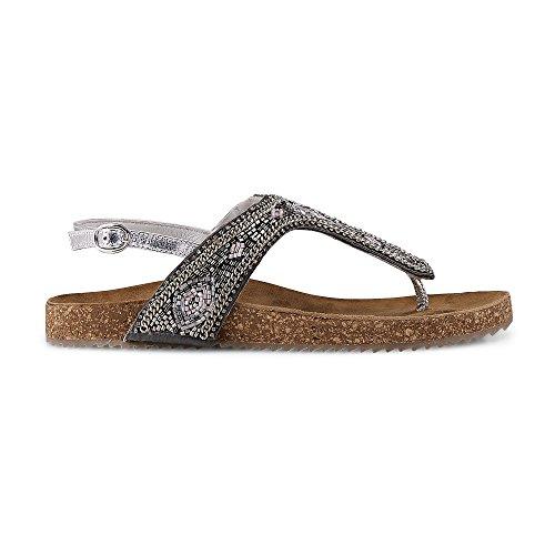 Flare & Brugg Damen Ethno-Sandalette Silber Textil 38