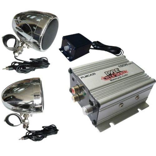 PYLE PLMCA20 versterker en verchroomde en waterdichte koffers voor custom motoren elektrische fietsen 100 watt rms 200 watt max per koppel