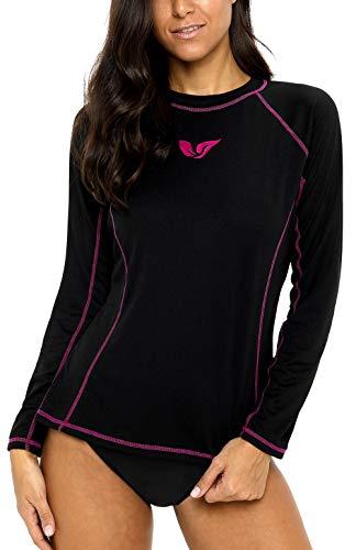 ATTRACO Womens Rash Guard Shirt Swimsuit Swim Top Long Sleeve Diving Shirts Black-Fuchsia