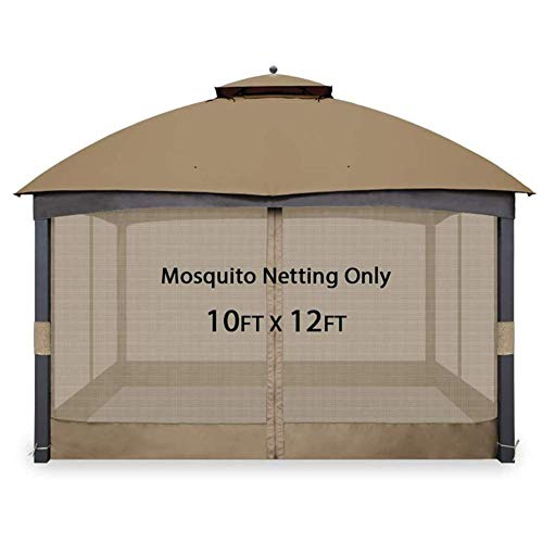 Gazebo Mosquito Netting, Universal Gazebo Replacement Mosquito Netting Adjustable Screen Walls for 10'x10' or 10'x12' Gazebo Canopy,10ft*12ft