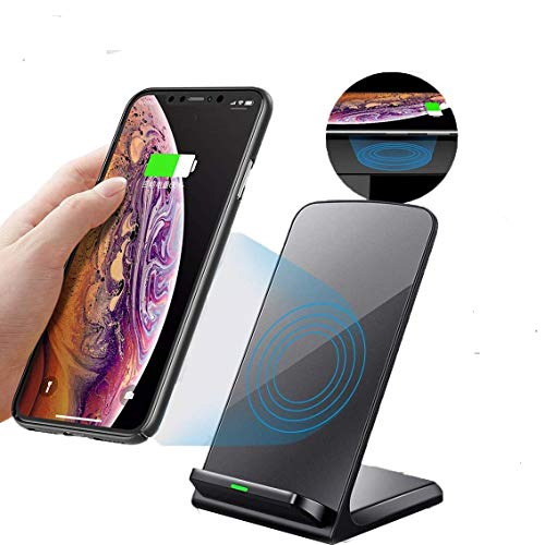 Wireless Charger Stand, Fast Wireless Charging for iPhone X XS MAX XR 8 Plus, Qi-Certified Fast Charging for Galaxy S10/S9/S9+/S8/S8 Cordless Cell Phone Charger