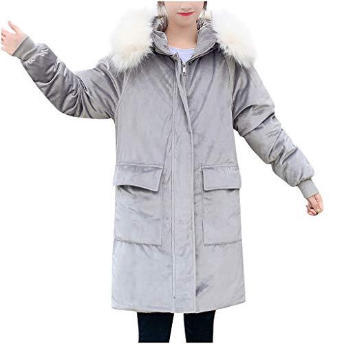 BRISEZZ mode herfst en winter damesmode bovenkleding lang met katoen gevoerde jassen zak suède capuchon mantel winddichte mantel (zwart, grijs, navy, lila, geel, XS-XL)