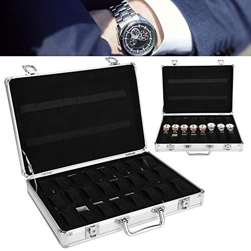 yuyte Uhr Aufbewahrungsbox, 32 Grids Aluminiumlegierung Koffer Uhr Display Aufbewahrungsbox Uhr Organizer Fall