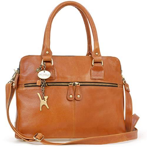 Catwalk Collection Handbags - Leder - Große Schultertragetasche/Umhängetasche/Shopper/Tote - Handtasche mit Schultergurt - VICTORIA - Hellbraun