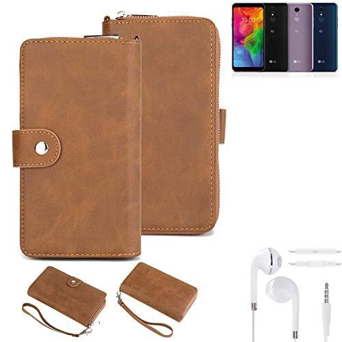 K-S-Trade® Handy-Schutz-Hülle Für LG Electronics Q7 Alfa + Kopfhörer Portemonnee Tasche Wallet-Case Bookstyle-Etui Braun (1x)