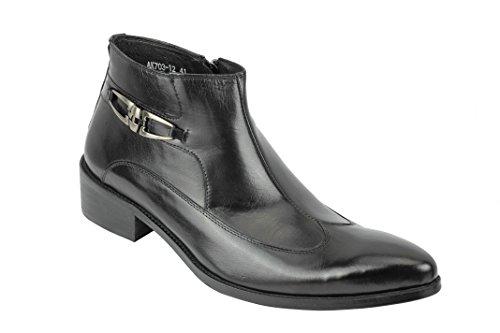 Herren-Stiefeletten aus poliertem Echtleder, mit Reißverschluss, Vintage-Stil, Schwarz, Schwarz - Schwarz  - Größe: 42 2/3 EU