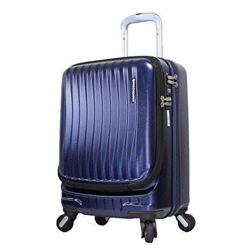 [エンドー鞄]ストッパー付き フロントオープン スーツケース コインロッカーサイズ SSサイズ ポリカーボネート フリークエンター 豊岡鞄 静音キャスター 1−217 (ネイビー)
