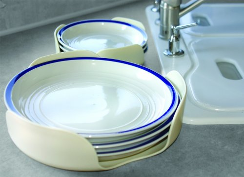 Camco Stack-A-Plate- Easily Organize, Store and Protect Plates During Travel, Non- Slip Backing, Simply Dispense Plates During Later Use, Great For RVs - White (43601)