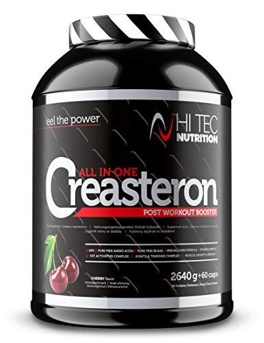 Hi Tec Creasteron – Creatina - Regeneración - Aminoácido - Arginina - Taurina - BCAA - Fenogreco y Maca - Vitaminas y Minerales - Colágeno y Glucosamina (2640g + 60caps, Cherry)