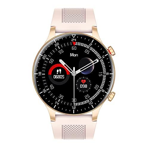 Smartwatch 1.3' Táctil Completa Reloj Inteligente Impermeable IP68 Pulsera Actividad Modos Deporte, Hombre Mujer, Con Pulsómetro Monitor De Sueño Monitores Calorías Podómetro Para Android Ios,Oro