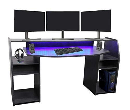 Wohnorama Gaming Tisch Schreibtisch inkl. LED RGB Beleuchtung, Setup Gamer Ablagen, Ultra Wide TV Monitor geeignet