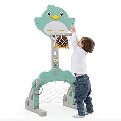 3-in-1 Kids Basketball Hoop Set, Stand Height A...