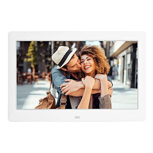 10,5-Zoll-Digitalfoto-Bilderrahmen Musikfoto-Video-Player mit IPS-Bildschirm mit Fernbedienung, Hintergrundmusik/Multi-Diashow / 4 Windows-Anzeige/Kalender/Uhr Elektronischer Bilderfotorahmen