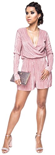 Loomiloo Glitter jumpsuit dames minioverall jumper overall onesie party feestelijk Lurex mini getailleerd wikkeluiterlijk elegant carnaval carnaval kostuum
