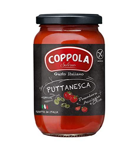 Coppola Sugo Puttanesca, Sugo Pronto con Olive, capperi e acciughe – Senza zuccheri aggiunti 350g (Confezione da 6)