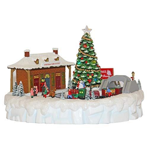 Carillon Paesaggio Di Montagna Stazione Con Treno Trenino Elettrico Che Gira Intorno Ad Albero Di Natale Con 8 Melodie Natalizie E LUCI LED 55027