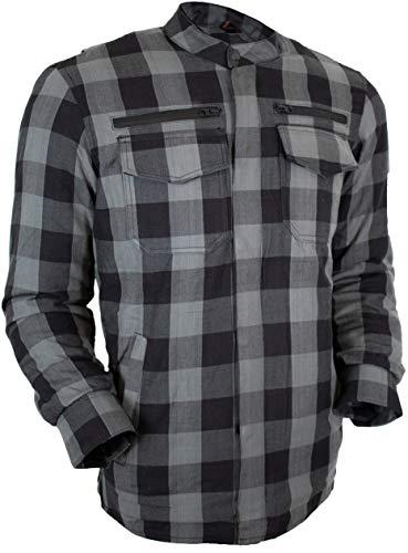 MDM Herren Motorrad Biker Hemd mit Protektoren in verschiedenen Farben (XL, Grau Kariert)
