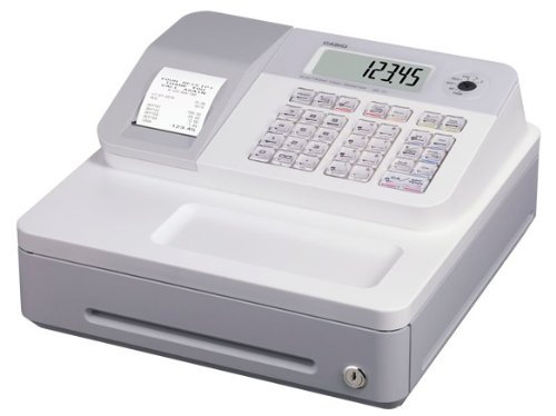 Casio SE-G1SB-WE Registrierkasse mit kleiner Geldlade, Thermodruck Kundenanzeige, weiß - Für Deutschland und Österreich nicht geeignet