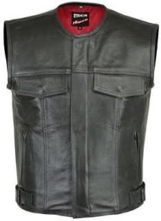 RKsports LEVI Mens Motorcycle Biker Waistcoat Full Leather Black Gillet Vest Cut Zipper Pocket