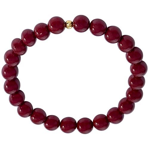 AIShang-Ornament Cinnabar - Pulsera elástica con cuentas redondas y diseño de amuleto de Feng Shui, unisex, color rojo