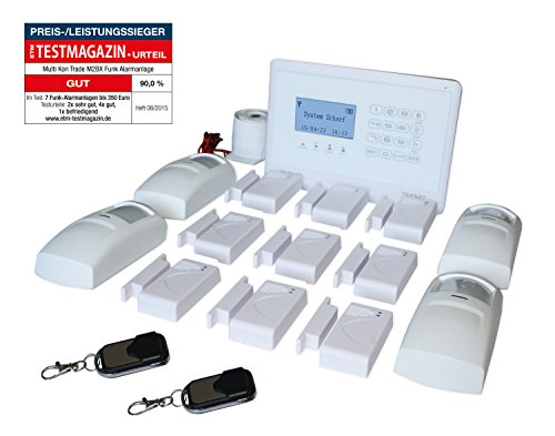 Multi Kon Trade hochwertige GSM Funk Alarmanlage mit Bewegungsmelder - Home Security Kit mit Tür- und Fensterkontakten - Professionelles Smart Alarmsystem mit Fernsteuerung