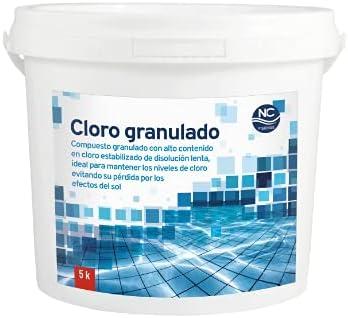 NC PISCINAS Cloro granulado 90% para Piscinas 5 Kg   Alta concentración   Disolución Lenta  Fabricado en España   Válido para Piscinas de Obra, hinchables y Desmontables