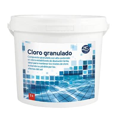 NC PISCINAS Cloro granulado 90% para Piscinas 5 Kg | Alta concentración | Disolución Lenta| Fabricado en España | Válido para Piscinas de Obra, hinchables y Desmontables