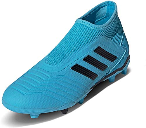 Adidas Predator 19.3 LL FG J, Botas de fútbol Niño, Bleu Cyan Noir Jaune Fluo, 35 EU