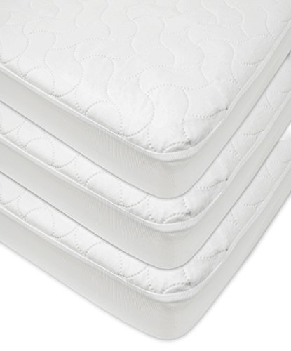 American Baby Company Waterproof Fitted Quilted Crib and Toddler Protective Pad Cover, White (3 Count), for Boys and Girls