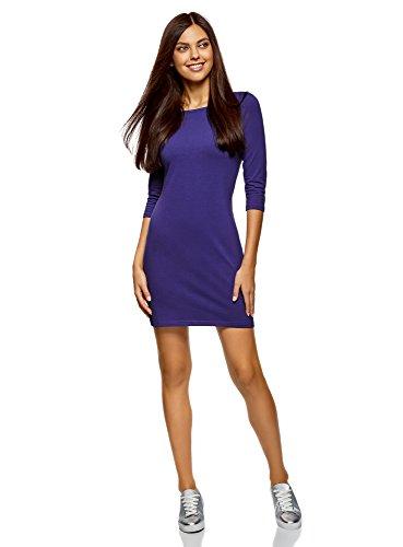 oodji Ultra Damen Baumwoll-Kleid Basic, Violett, DE 36 / EU 38 / S