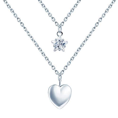 MicVivien Damen Layered Kette mit Herz Anhänger Zarte Mehrreihige 925 Sterling Silber Doppelkette Halskette Schmuck für Frauen Mädchen Kinder, Kettenlänge 17