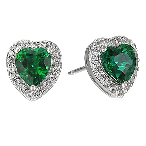 CaratYogi plata de ley 925 plata de ley corazón Green esmeralda sintética