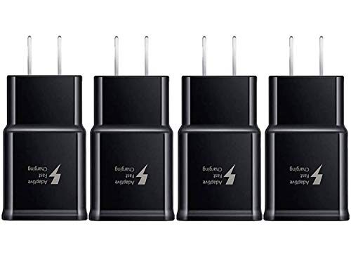 Samsung Adaptive Fast Charging Adapter Quick Charge Charging Block Wall Charger Plug Compatible Samsung Galaxy S10 S9 S8 S7 S6 Note 8 9, iPhone, LG, HTC and More(4-Pack)