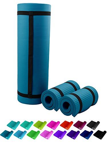 NBR Fitnessmatte 183 x 61 + 2 Stück Pads 25 x 61 cm Petrolblau Petrol Petroleum Mineral Blau Blue 1,5 cm Fitness Gymnastik Yogapad Kniepad Pilates dick sehr weich Trageband Sportmatte Yogamatte ReFit