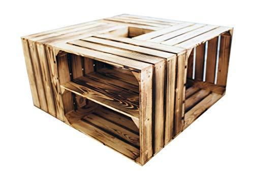 Teramico houten kisten/fruitkisten, set van 4, 50 x 40 x 30 cm, lang met tussenplank, geschaafd als salontafel of plank, grijs, wit, gevlamd 50 x 40 x 30cm Gevlamd, bodem gevlamd.