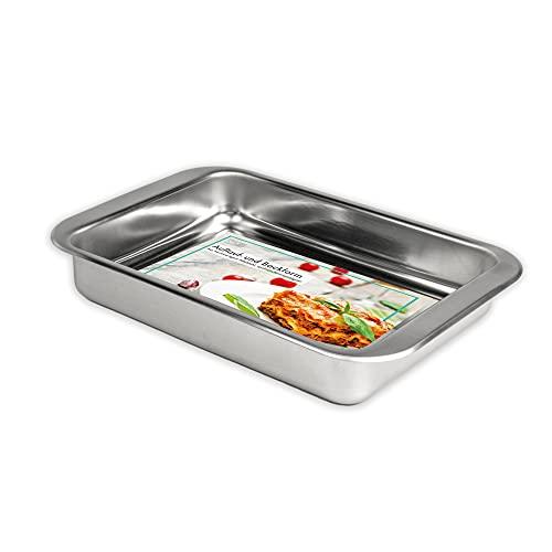 Hausfelder Molde rectangular de acero inoxidable, apto para lavavajillas, para lasaña, asado y mucho más, bandeja honda para horno (1 unidad: 35,5 x 23,5 x 5,5 cm)