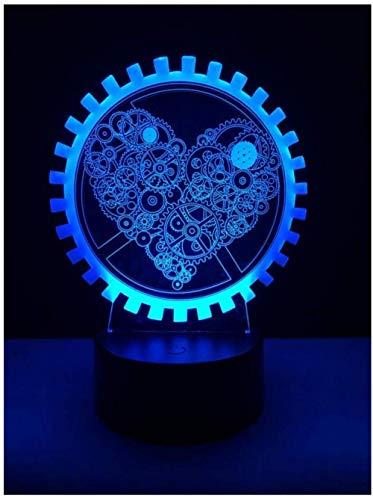 Luz nocturna 3D ilusión Deco LED Lámpara Models Gift Darling In The Best Birthday Holiday Gifts For Children Con interfaz USB, cambio de color colorido