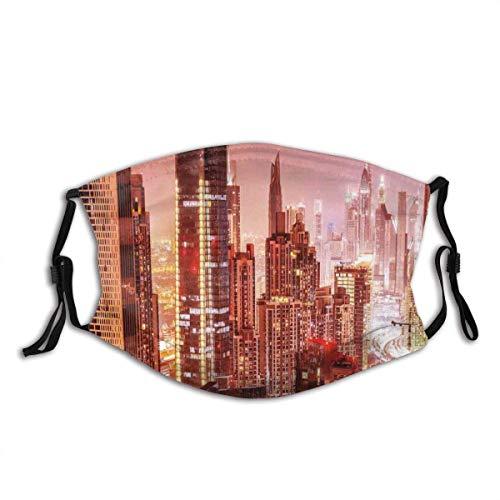 Funda unisex reutilizable para la nariz de viaje Dubai Night Cityscape Print Dust Boca Cubierta ajustable con filtro reemplazable